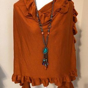 Katie Todd Sweaters - Katie Todd Pumpkin Ruffle Shawl